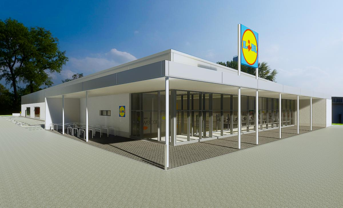 An artist's impression of the Lidl store.