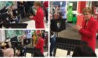 Nicola Sturgeon conducts the brass band at the Asda in Dunfermline.