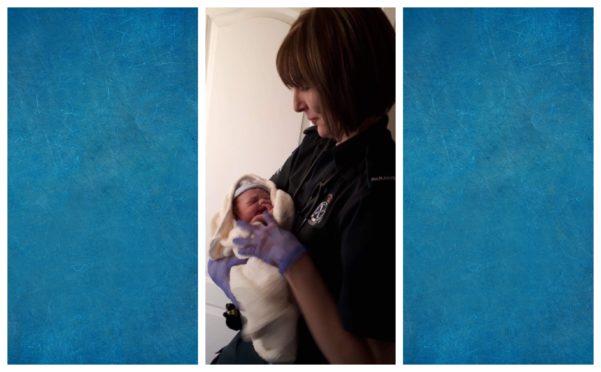 Lisa Elder of the Scottish Ambulance service with baby Ollie.