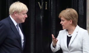 Scotland's First Minister Nicola Sturgeon meets Prime Minister Boris Johnson in Edinburgh in July 2019.