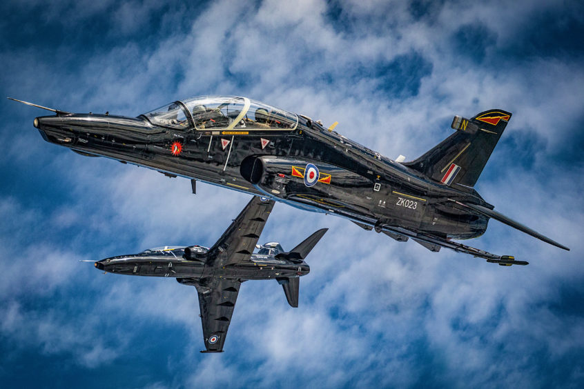 RAF T2 Hawks flying in formation.