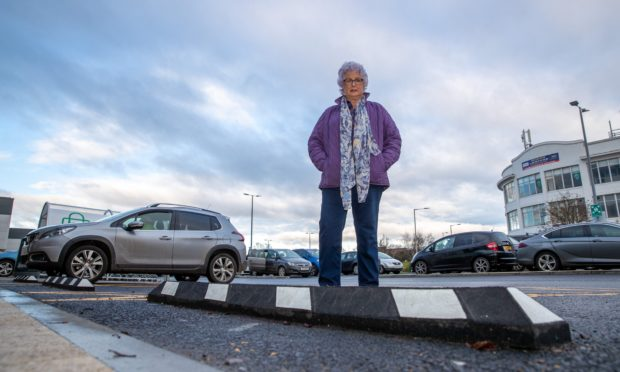 Heather Innes by a ledge at the retail park. Picture: Kenny Smith.