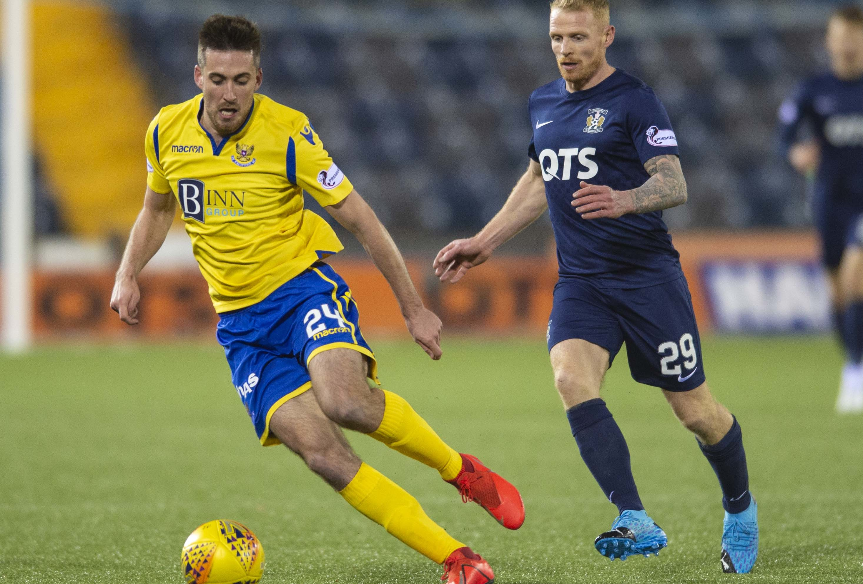 Callum Booth, left, in action against Killie.