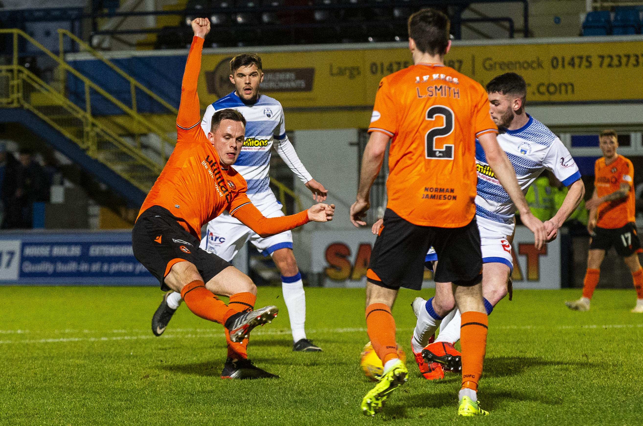 Lawrence Shankland scores at Cappielow.
