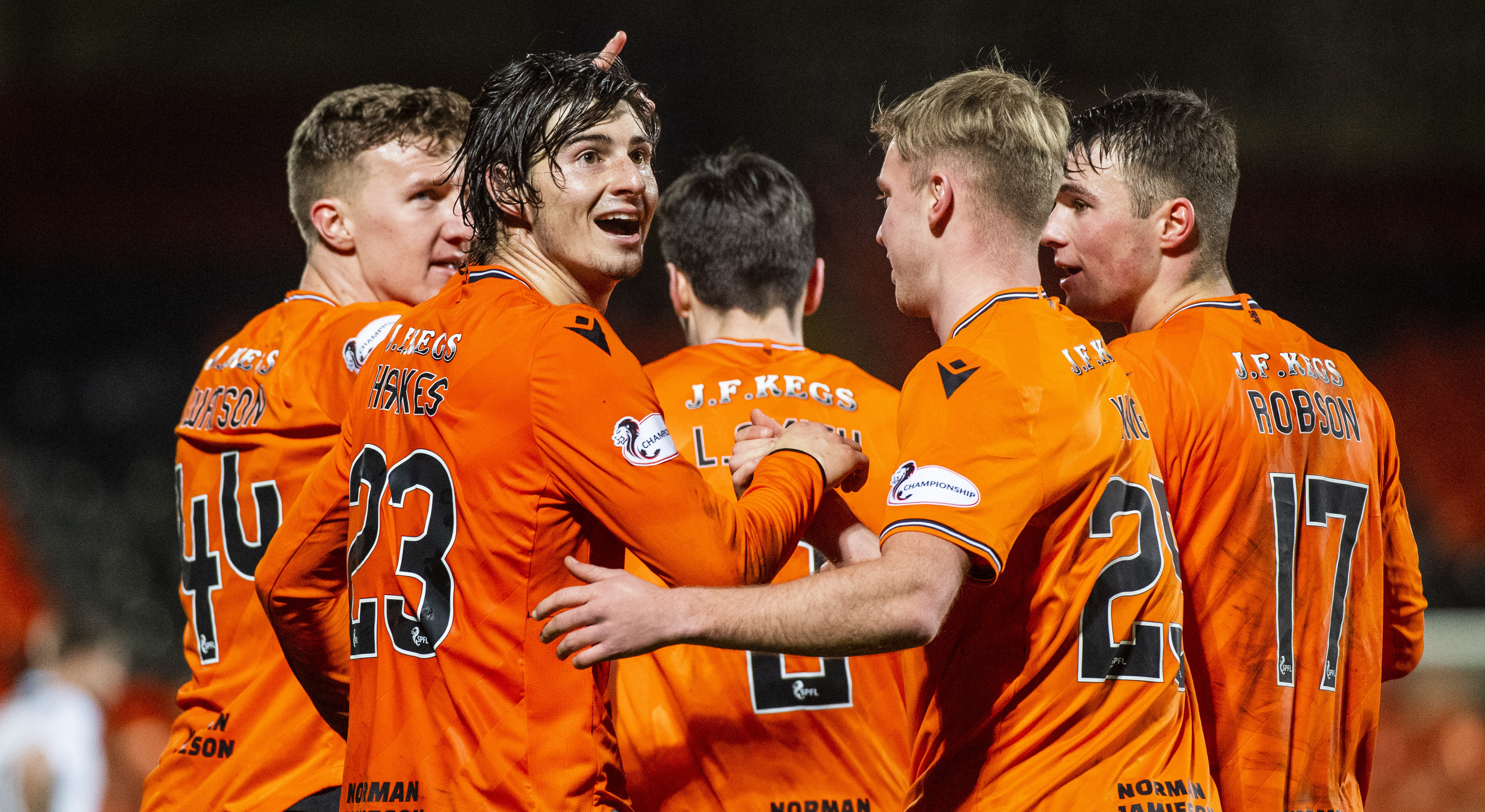 Ian Harkes (number 23) celebrates his goal with his teammates.