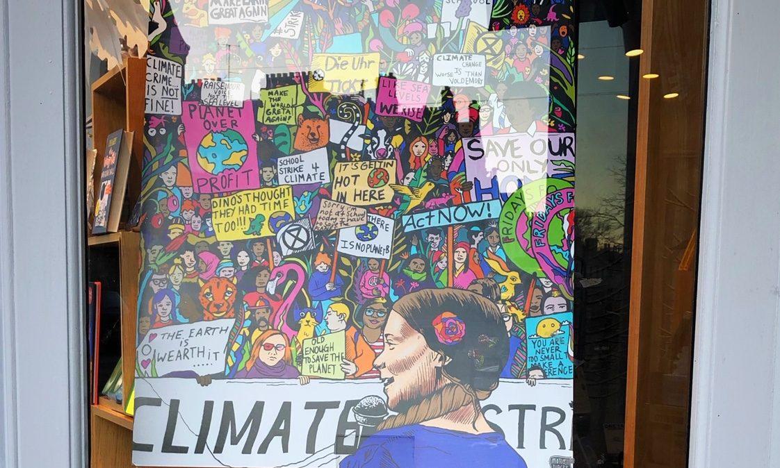 Sophie Taylors artwork inspired by Greta Thunberg is on display in St Andrews Waterstones.