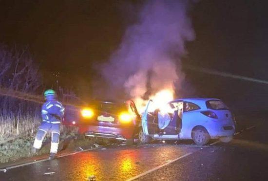 The scene last night following the crash.