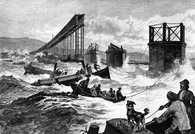 A drawing of the Tay Bridge Disaster
