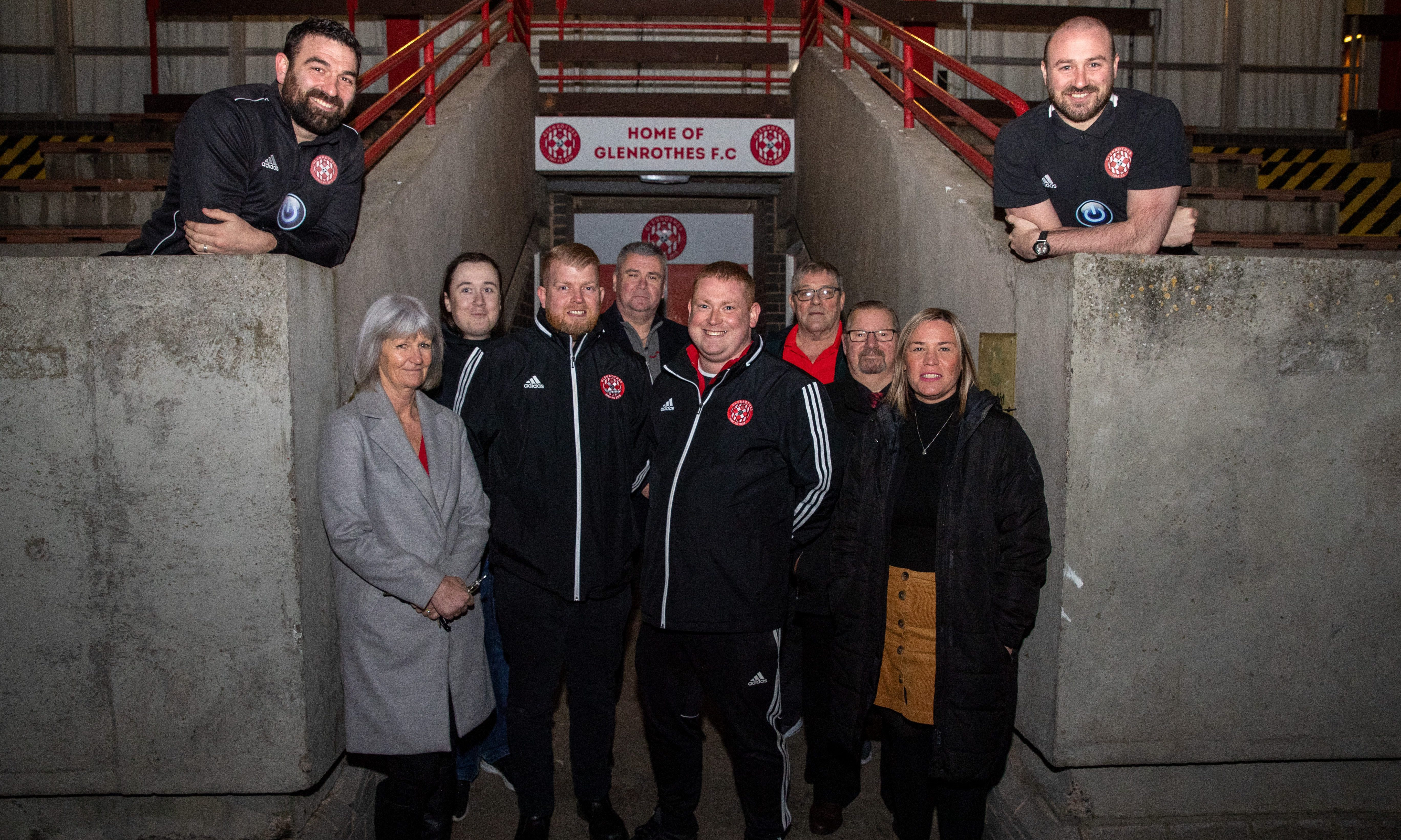 Members of Glenrothes Football Club at the stadium.