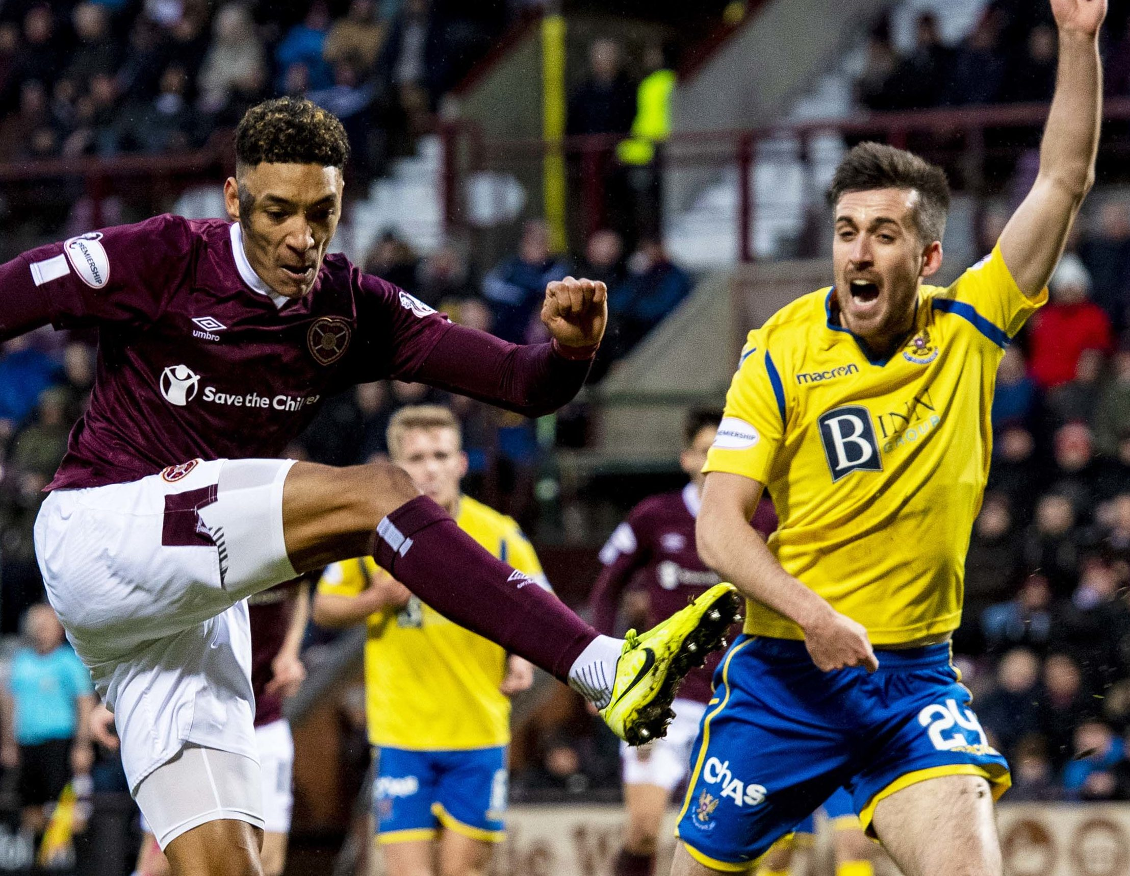 Callum Booth in action at Tynecastle.