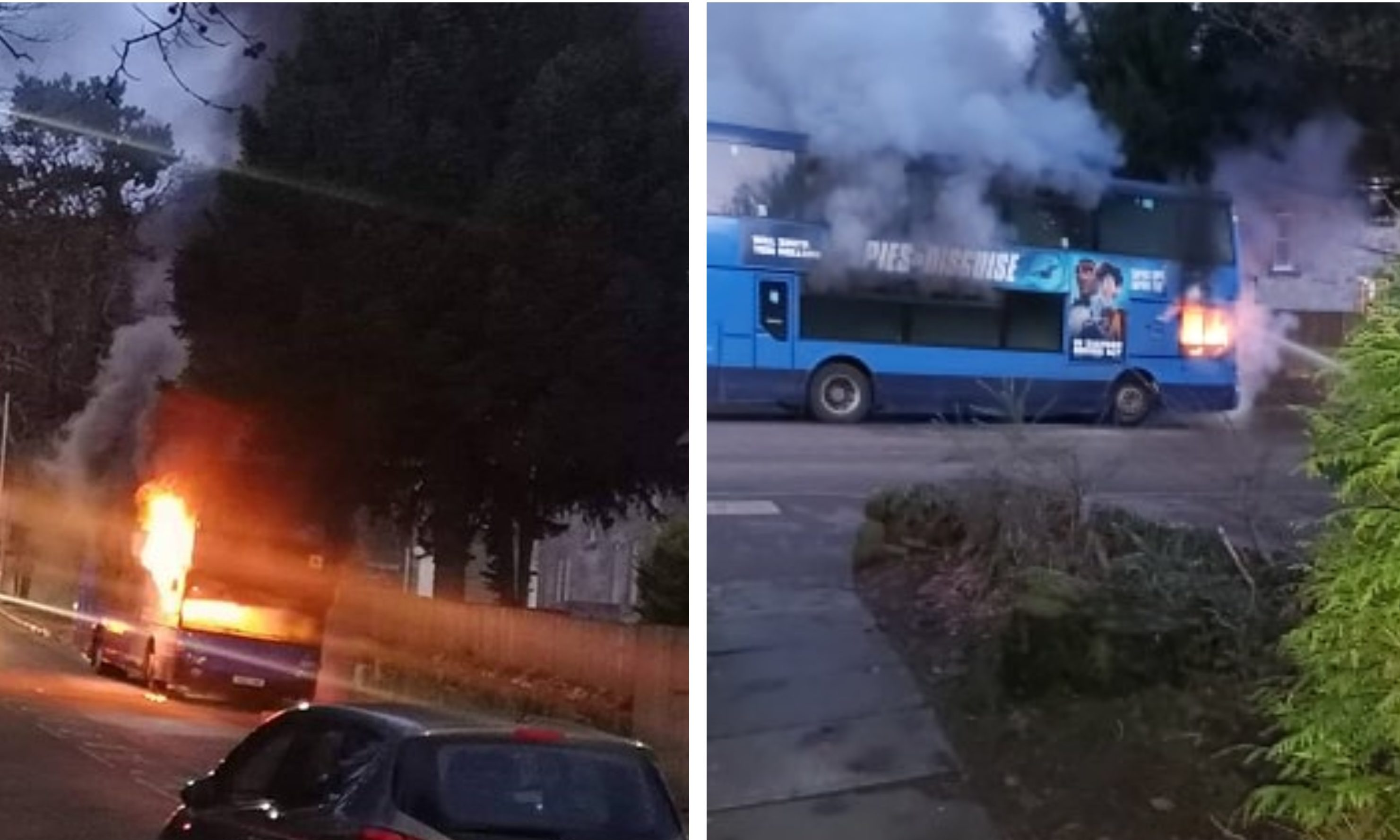 The bus goes up in flames outside Queen Anne High.