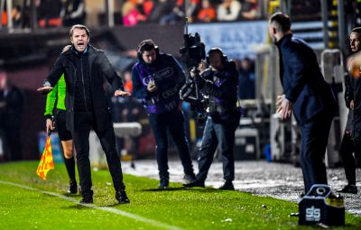 Robbie Neilson in full voice in the technical area.