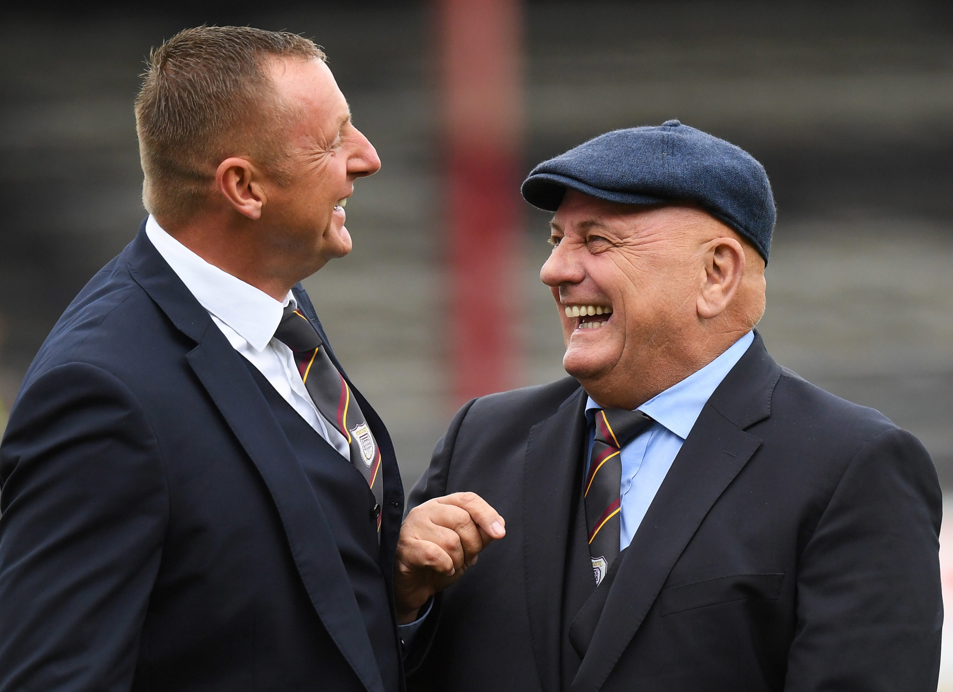 Big Rab (left) shares a joke with Arbroath's Manager of the Year nominee, Dick Campbell.