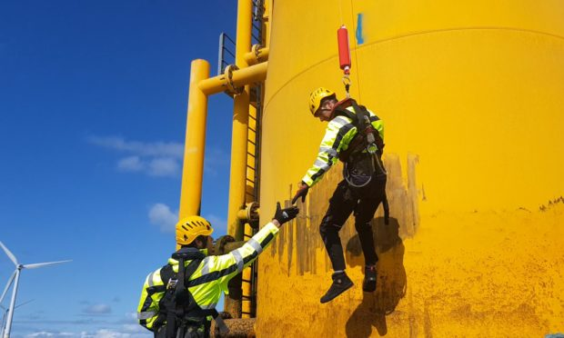 Personnel using the Get Up  Safe system.