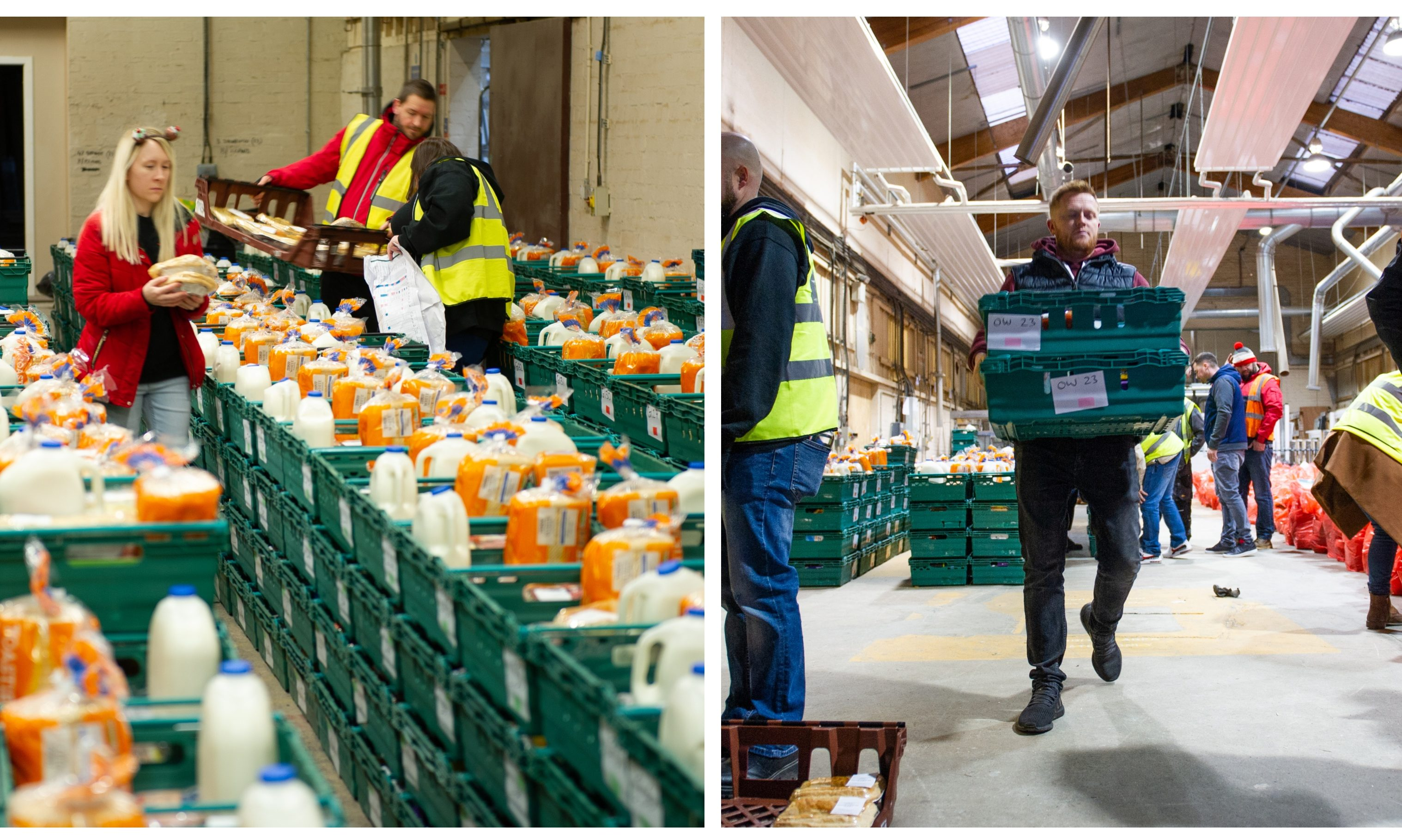 The warehouses full of food boxes and gifts which were distributed by the Cottage Family Centre and volunteers.