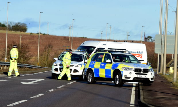 The scene of the incident on the A92.
