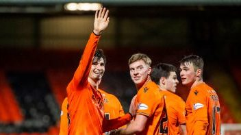 Ian Harkes waves to his family after his goal.
