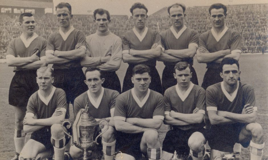 The famous St Andrews United 11 at Hampden after winning the 1960 Scottish Junior Cup.