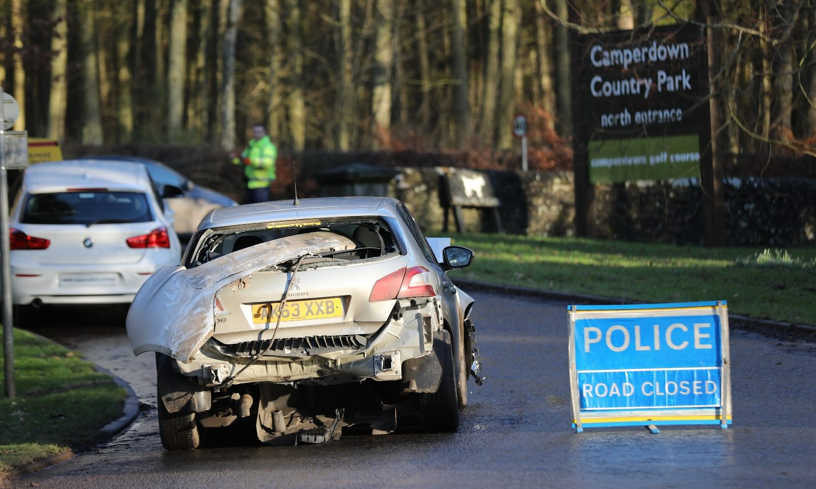 A wrecked car following the crash on the Coupar Angus Road, Dundee.