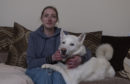 Anna Locke at home in Arbroath with her husky Konan