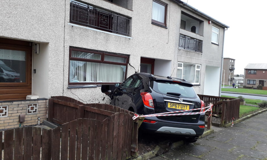 A car ploughed into a house in Lindores Drive, Kirkcaldy.