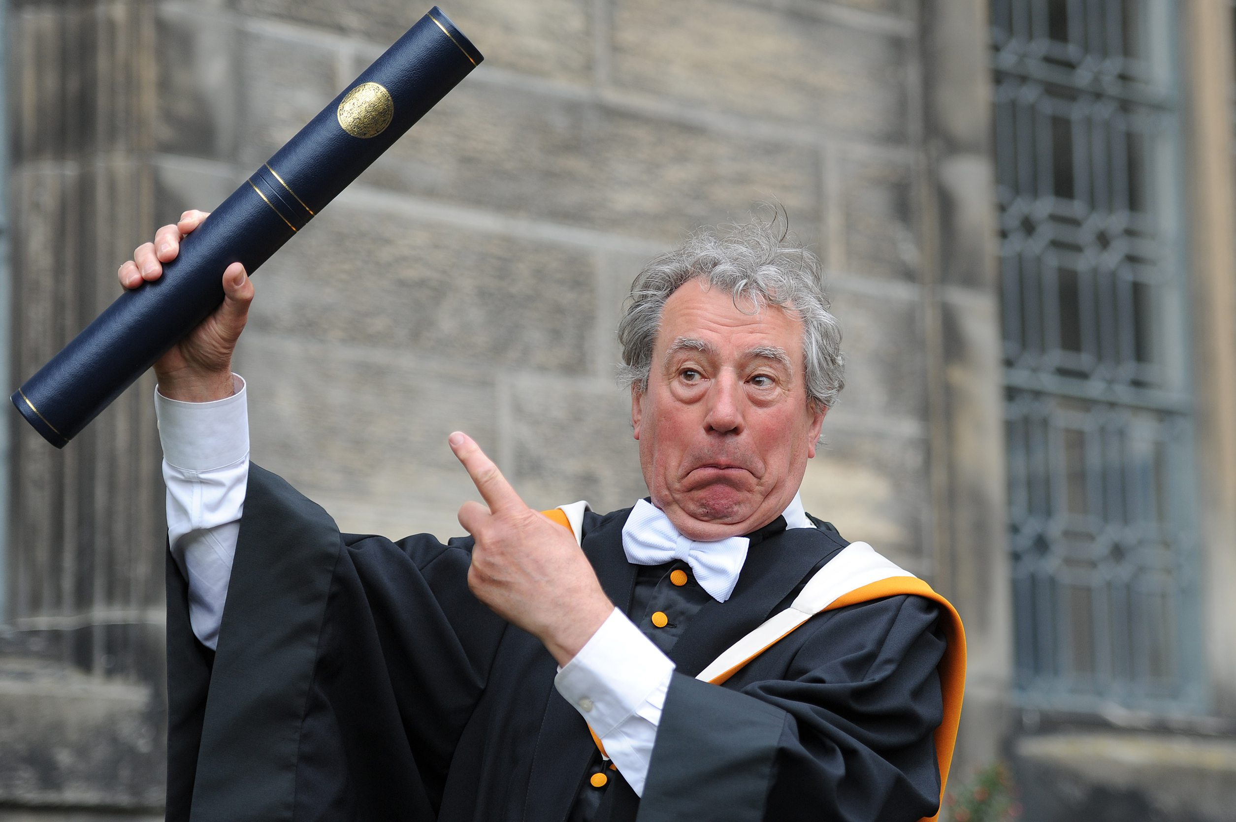 Terry Jones receiving his honorary degree from St Andrews University in 2013.
