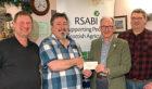 SABI supporter Duncan Fisher of Groan Farm, Frank McKie, David Leggat and butcher Tom Stevenson.