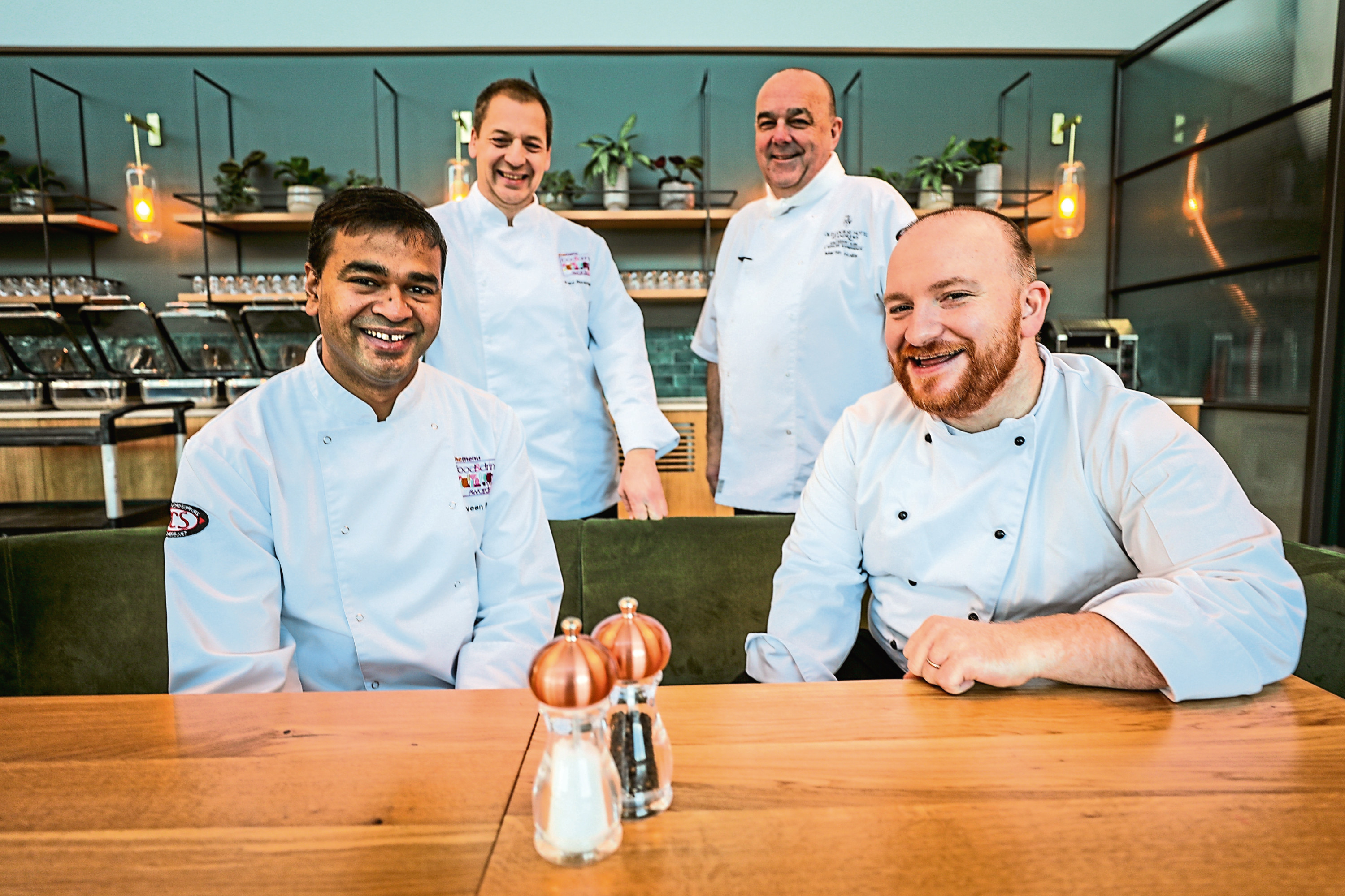Four of the chefs who will be cooking up a culinary storm for The Menu Food and Drink Awards 2020 at Dundee's Apex Hotel:  Praveen Kumar, Paul Newman, Martin Hollis and Graham Paulley.