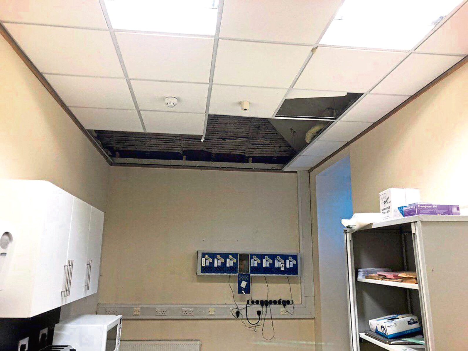 The collapsed ceiling at Broughty Ferry police station.