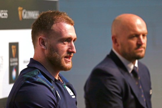 Scotland's head coach Gregor Townsend (right) and Stuart Hogg and during the Guinness Six Nations launch at Tobacco Dock, London.