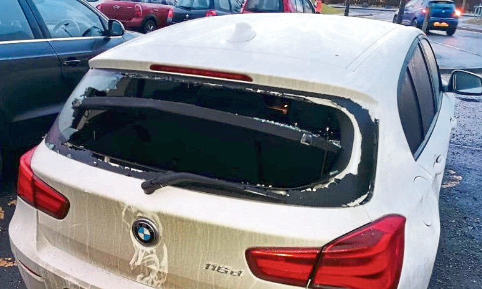 A BMW damaged at Ninewells Hospital on January 24 2020.