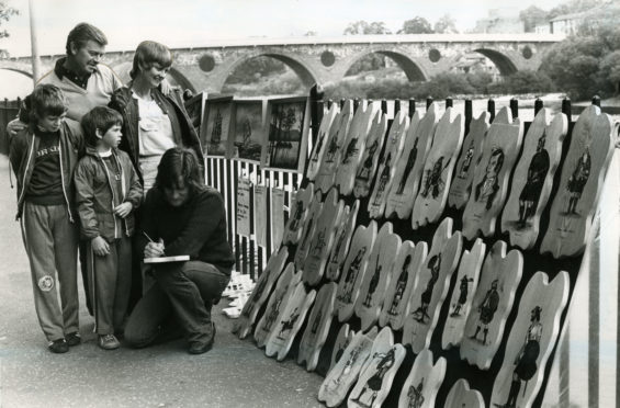 An artist at the festival in 1980