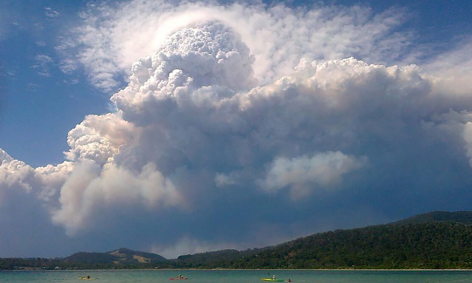 A fire-generated thunderstorm is formed near Nowra, New South Wales, Australia.