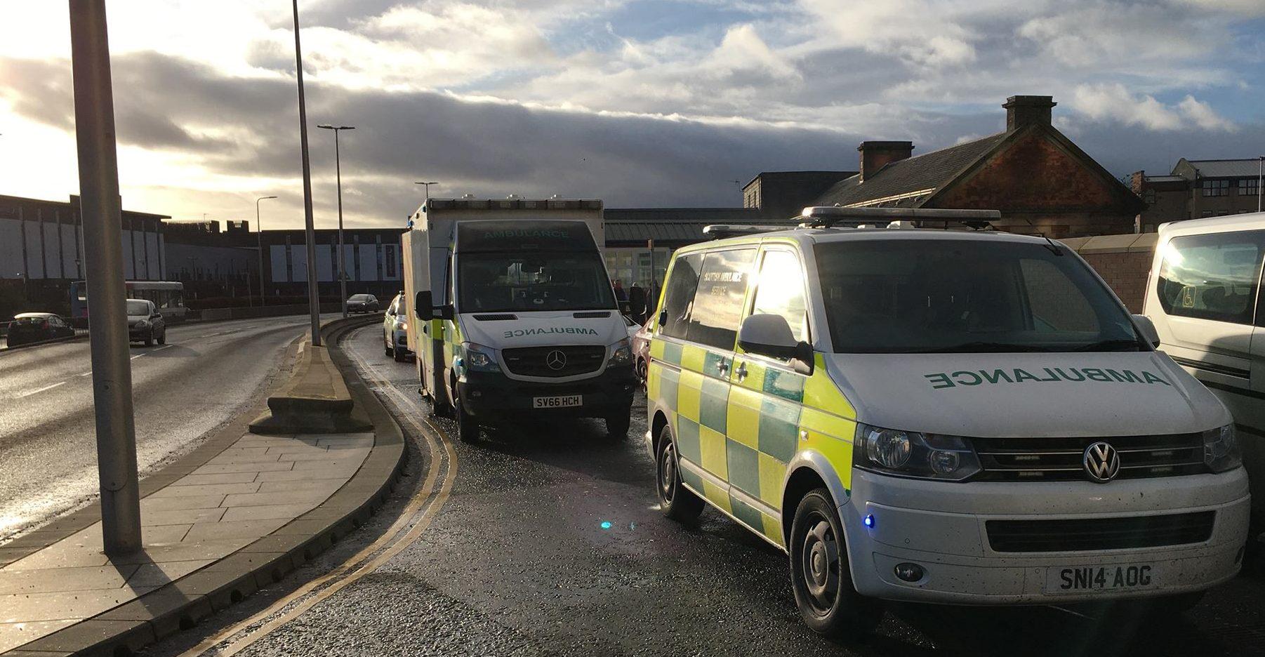 Ambulances at Dundee Railway Station.