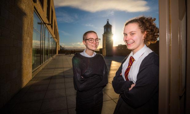 Elsie MacDonald and Sarah Mathieson at Harris Academy