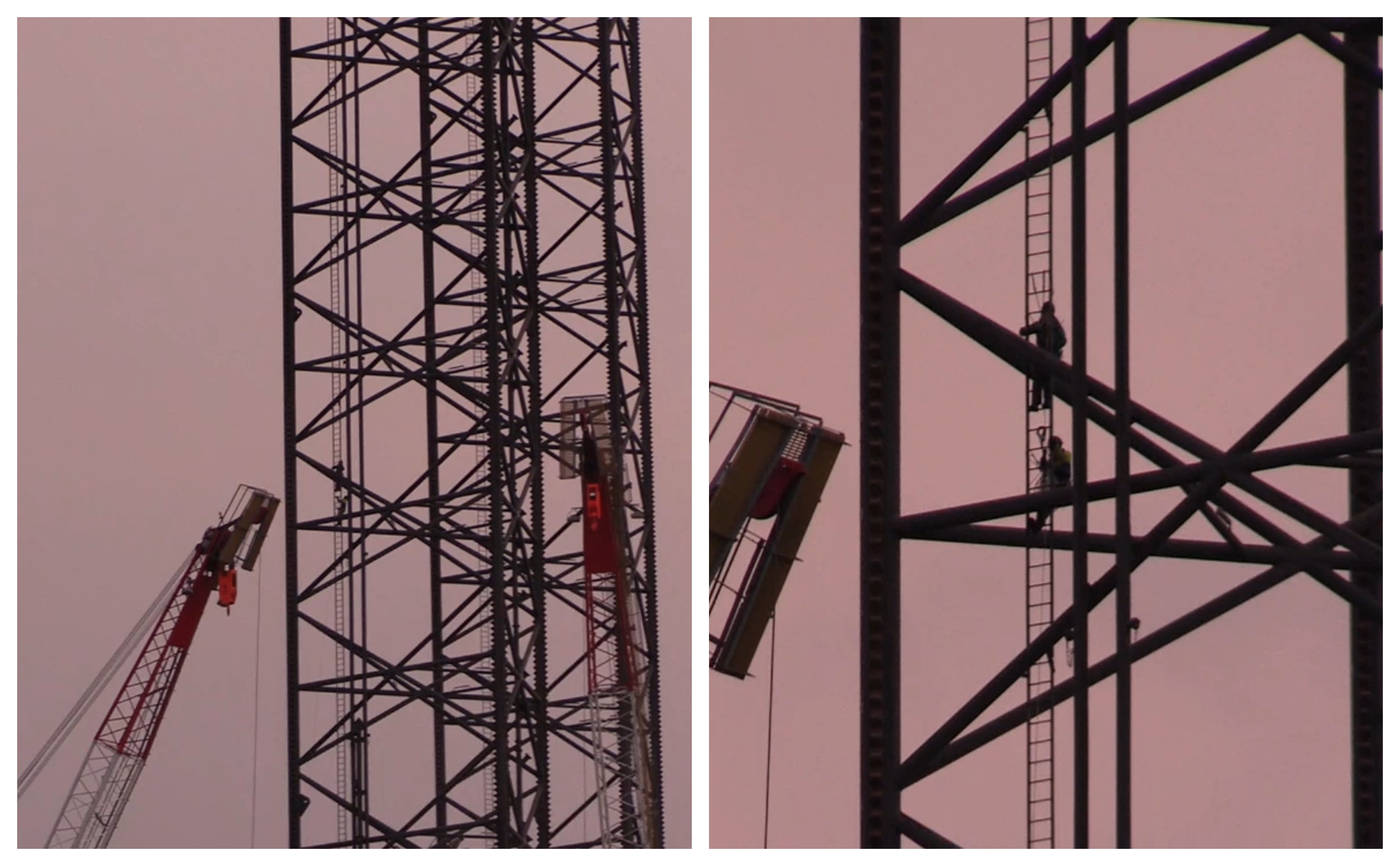 Two of the activists could be seen climbing up the 500ft leg of the rig