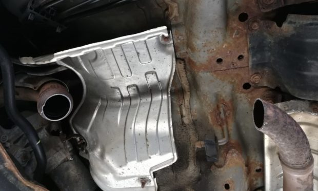 Will Pritchard's car Honda Jazz after thieves stole his catalytic converter