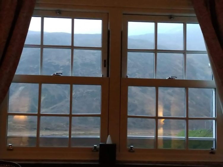 The bedroom at Cluanie Inn had a magnificent view of South Glen Shiel Ridge.