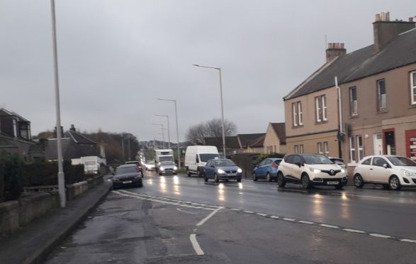Congestion after a crash on Standing Stane Road, Fife.