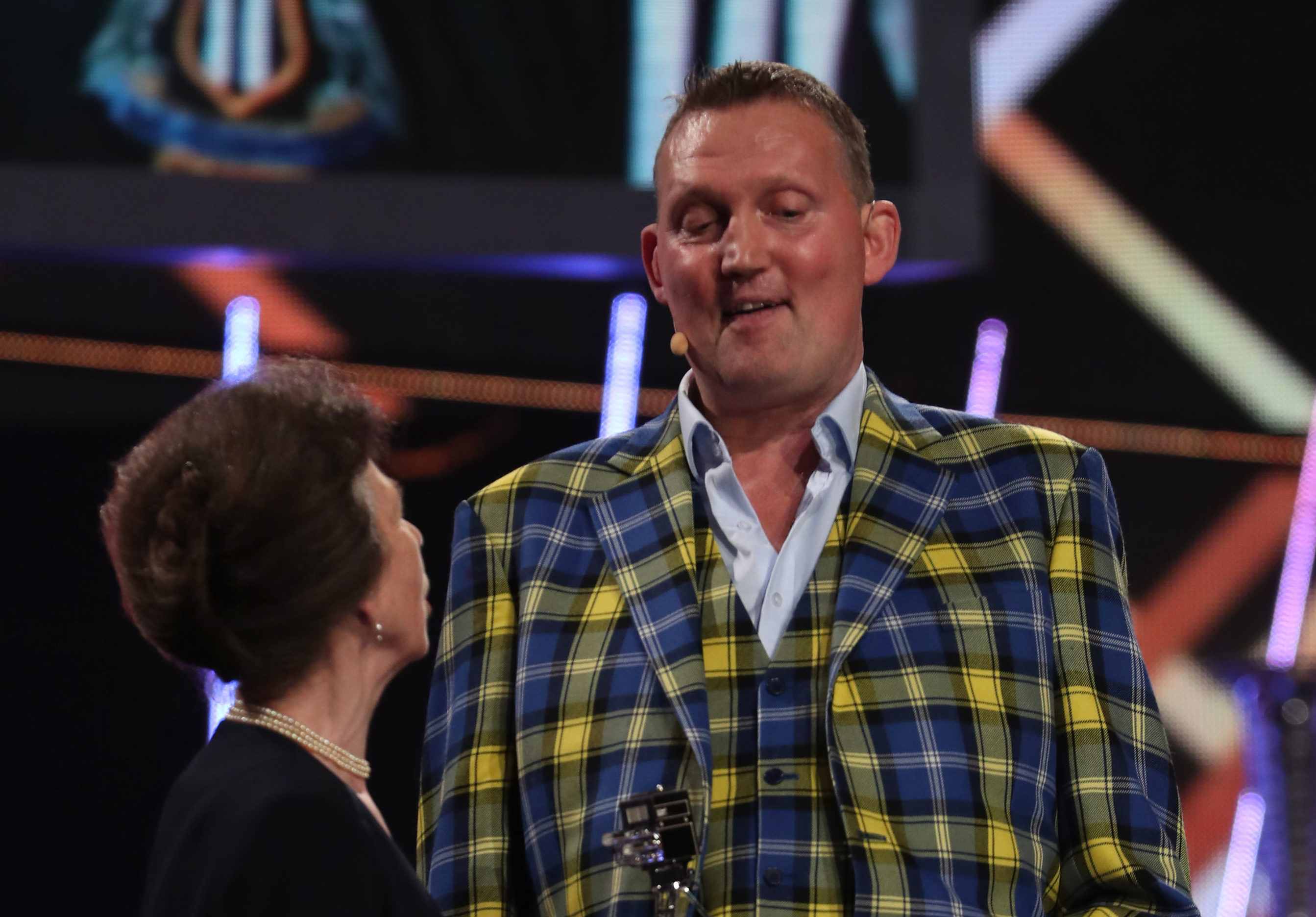Doddie Weir receiving Helen Roll-on Award from The Princess Royal during the BBC Sports Personality of the Year 2019. Picture: Jane Barlow/PA Wire.