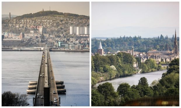 The Tay runs through Dundee (left) and Perth.