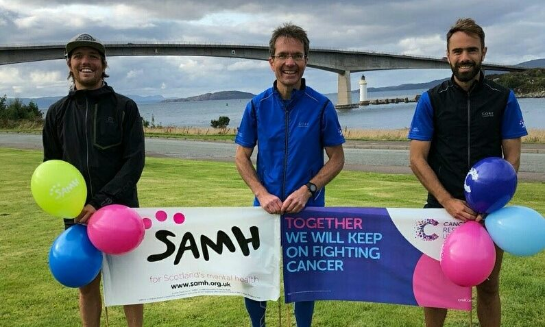 Dr Matthews, centre, was joined by sons Cameron, left, and Gregor, right, as they ran 87 miles across the Scottish Highlands in aid of Cancer Research UK.
