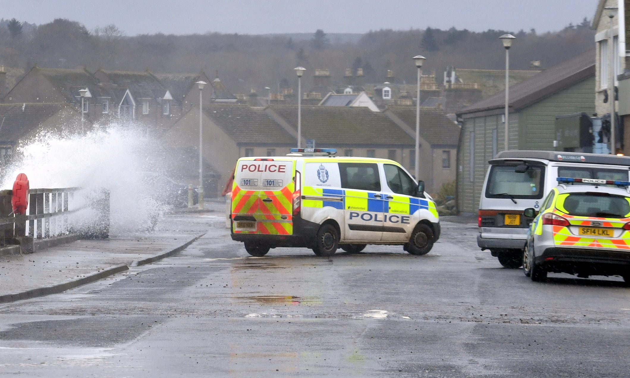 Police have closed off the beach promenade at Stonehaven.