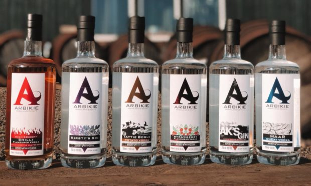 Some of Arbikie Distillery's products
