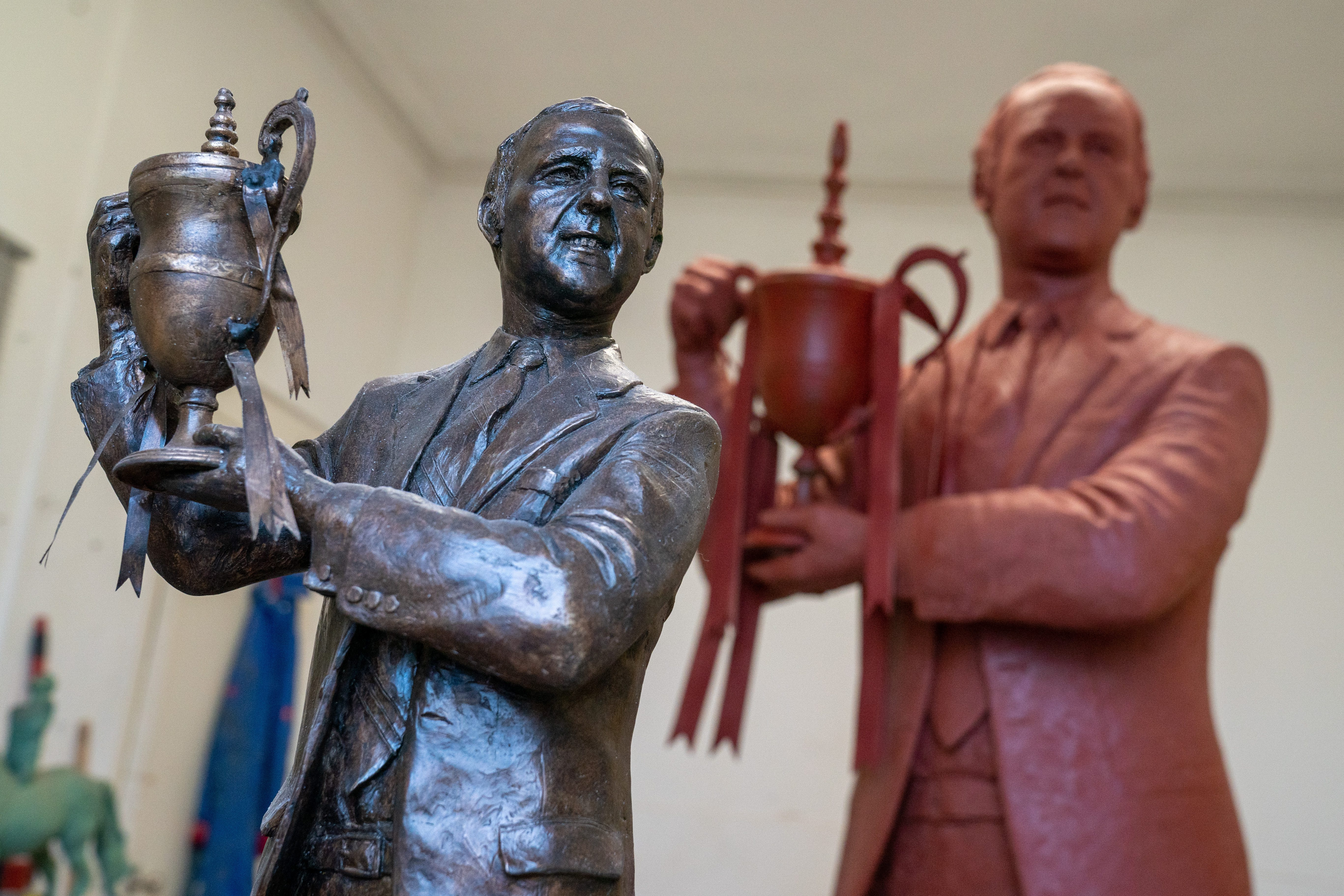 The statue, ready to be bronzed, and the maquette.