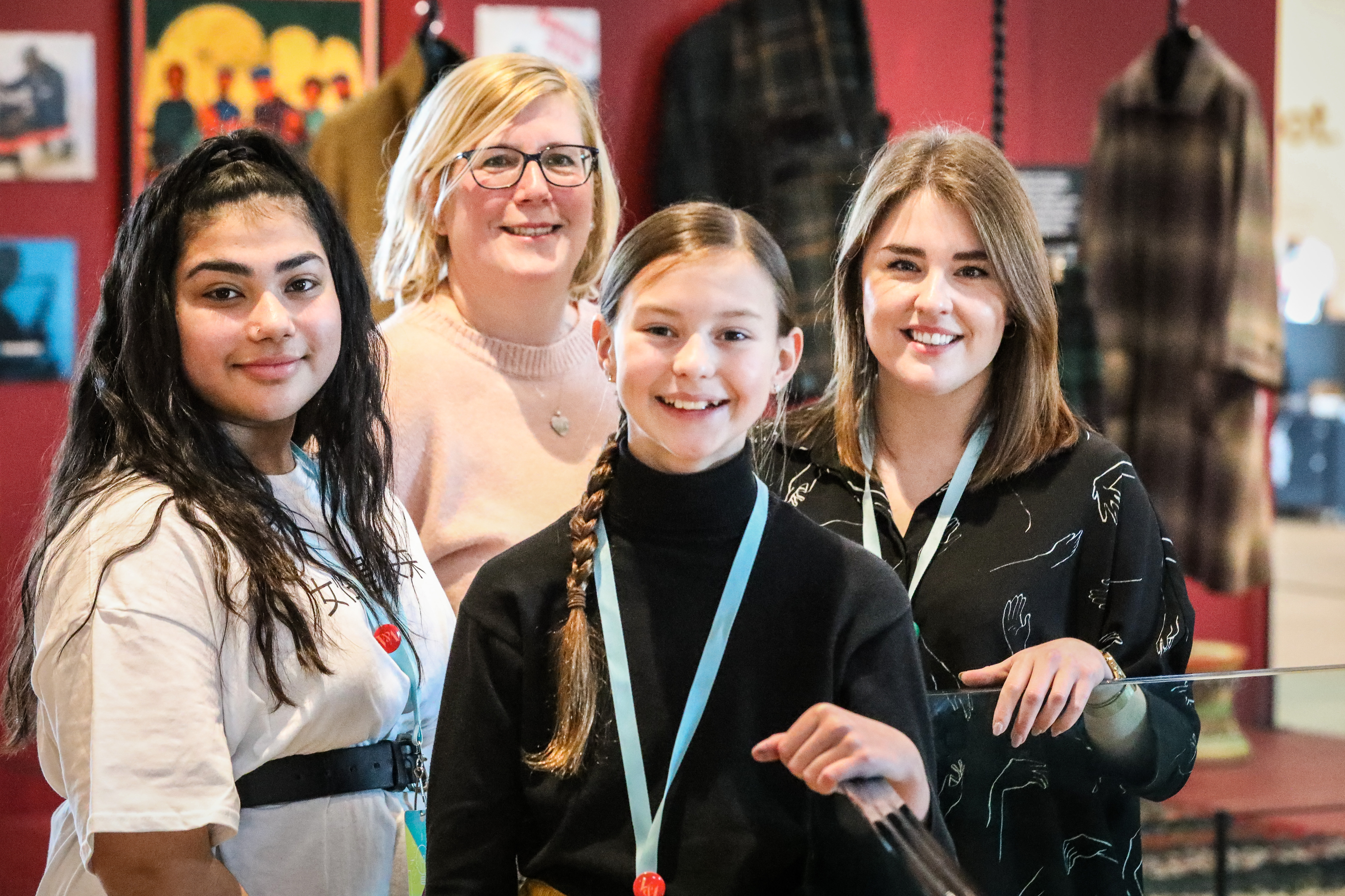 Aqsa Kahn S2 Morgan Academy, Yvonne Anderson, Arbroath High STEM club, Keira Beattie, S1 Arbroath High and Judith Steele, Art and Design, Morgan Acad at the Design Jam at V&A Dundee.