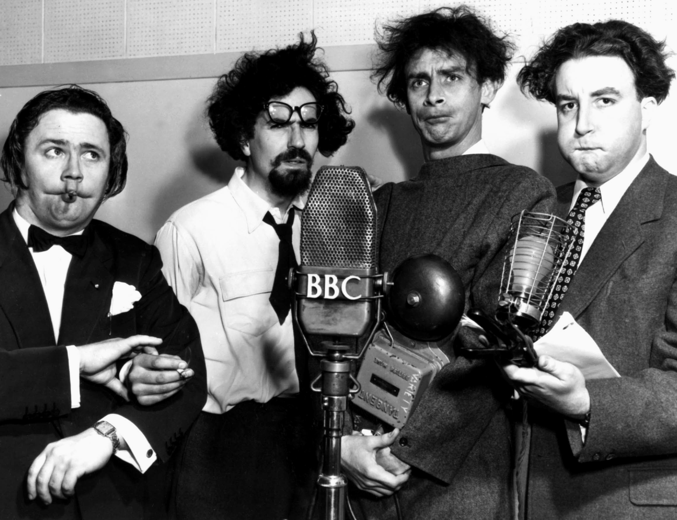 Harry Secombe, Michael Bentine, Spike Milligan and Peter Sellars in the Goon Show.