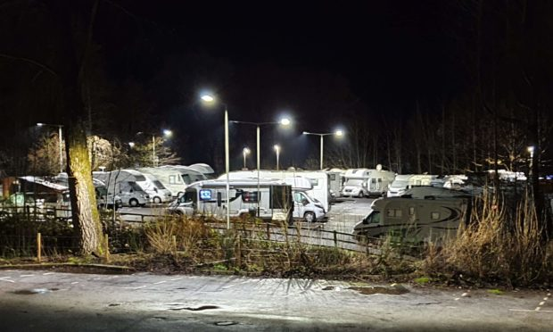 The Pitlochry caravans at night