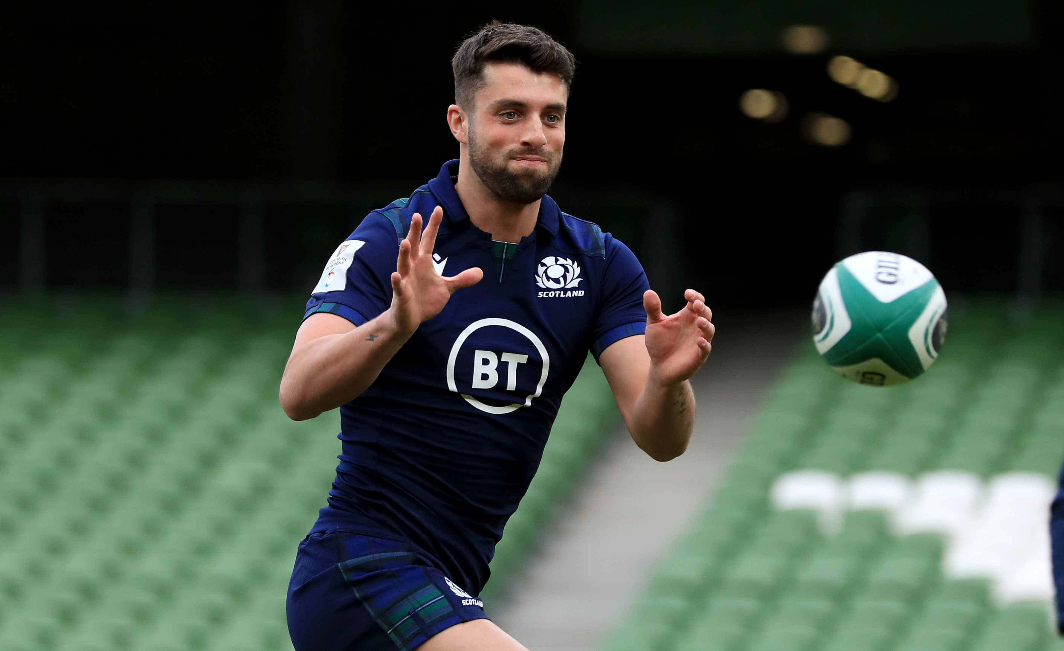 Scotland's Adam Hastings during the captain's run at the Aviva Stadium yesterday.