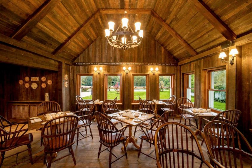 The rustic farmhouse restaurant, Emily's Byre, has a cozy bar and is a lovely place to relax.
